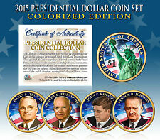 2015 MINT COLORIZED USA PRESIDENTIAL $1 DOLLAR 4 COIN SET Completed