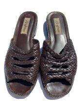 7.5 M Brighton Women's Dark Brown Woven Leather Sandal