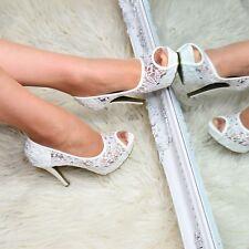 Women Platform High Stiletto Heel Shoes Peep Open Toe Lace Evening Pumps Size