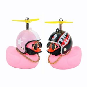 Car Dashboard Decoration Accessories Duck With Helmet & Chain Doll Toy Pink Cute