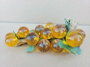 Vintage Mid Century Modern Grape Cluster Driftwood Stem Lucite Plastic Yellow 12