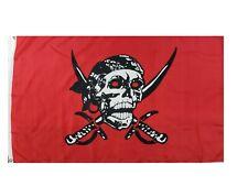 Crimson Pirate Flag 2x3ft Pirate Boat Flag Jolly Roger Flag Skull and Swords