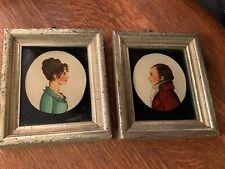 1800s Pair Antique Silhouette Folk Art Reverse Paintings in Frames Colonial