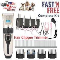 "Professional Mute Pet Dog Electric Hair Clipper Trimmer Shaver & 7"" Scissors Kit"