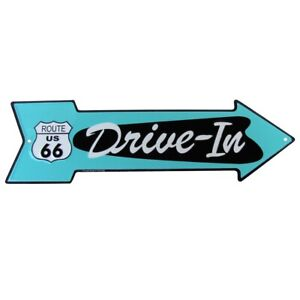 Route 66 Drive In Arrow US Made Metal Sign Diner Garage Man Cave Bar Wall Decor