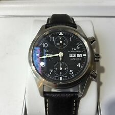 IWC Flieger Chronograph Iw3706 Stainless Steel Leather Strap Timepiece