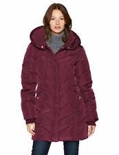 Steve Madden Women's Long Chervron Quilted Outerwear Jacket, Merlot Large