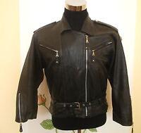 vintage MAURITIUS Motorrad Lederjacke motorcycle leather jacket biker L (M)