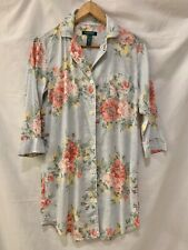 Ralph Lauren Sleep Night Shirt Nightgown Floral Blue Pink Women's SMALL Gown EUC