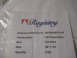 "6 pack Hotel Register WHITE Twin Flat (66""x115"" White) Sheet 180 TC Blue Hem NEW"