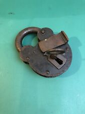 Vintage iron & brass padlock with key - good working order