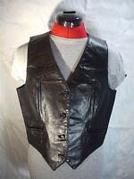 Vest Black Leather Vintage Bermans Motorcycle Button V Front Biker Lined Size 12