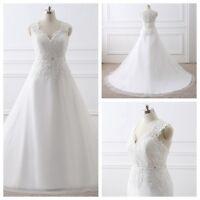 White/Ivory Stock Bridal Wedding V-neck Dresses Applique Gowns Plus Size 4--26W