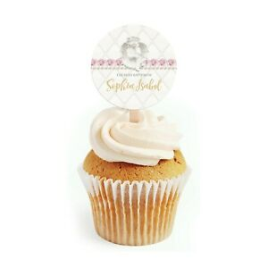 12 Holy Baptism Cupcake Toppers, First Communion Christening Cupcake Toppers