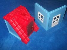 LEGO DUPLO PUPPENHAUS 2 X HAUS WAND WÄNDE 1 X FENSTER  1 X TÜR 1 X DACH Blau
