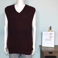 Chaps Men's XL Sweater Vest Purple Maroon V-neck Cable Knit 100% Cotton