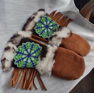 Rare Astis Womens Rabbit Fur Mittens Polartec Pro Size Small