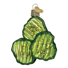 Old World Christmas Pickle Chips (28105)N Glass Ornament w/ Owc Box