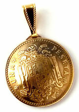 Spain Coat of Arms Gold Color Coin Pendant, Coin Jewelry Coin Necklace Spanish
