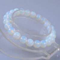 8MM Women Natural Opal Moonstone Round Beads Stretch Bangle Bracelet Jewelry