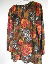 WOMENS Maggie Sweet Glittery LONG Sleeve Poly/Spandex Blouse TOP MEDIUM