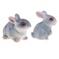 2pcs résine vive gris lapin figurine jardin statue créative décor cadeaux