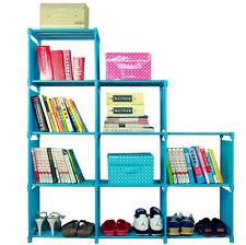 9 Grid Blue Color Bookcase Storage Shelf Corner plants Display Shelves Cabinet A