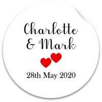 24 Gloss Personalised Love Heart Wedding Engagement Stickers colour choices