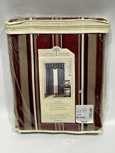 JCPenny Linden Street Stripe Lined Curtains 4 Panels Burgundy Tan 42 x 84 NEW