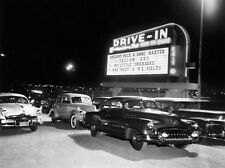 """1950's, """"Drive-in Theater"""" digital from B&W photo, 18""""h x 24""""w image"""