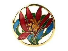 NEW Large LILY Cloisonné Brooch Hand Crafted Enamel Jewellery GIFT 3 Colours