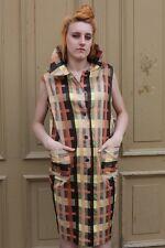 LS Tageskleid Kleid Cocktailkleid Gr. 40 braun kariert 70s True VINTAGE 70er