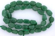 Freeform Polished Nugget  Natural NO DYE Green Gem Jadeite Beads 15 Inch Strand