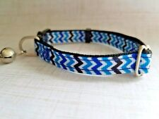 Blue Chevron Zig Zag Breakaway Safety Kitty Cat Collar with removable bell!