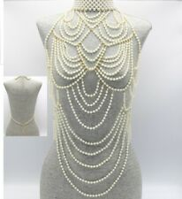 Gold Cream Pearl Body Chain Choker Bead Jewelry Multi Layer Vest Long Statement