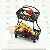 Black Metal Fruit Basket Dollhouse Miniature Furniture Accessor T1Y5