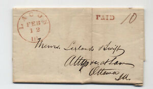 1842 Lacon IL stampless folded letter to Ottawa red CDS [5806.608]