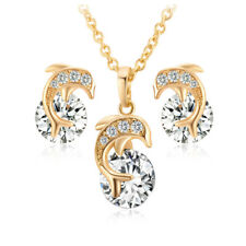 """18K Yellow Gold Plated Crystals CZ Paved Cute Dolphin 46cm/18"""" Kids Jewelry Sets"""