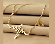 Heartbeat Wave Love Romantic Gold Necklace Surf Jewellery Heart Womens  Gift.