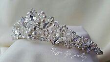 Tiara da Sposa Luccicante Cristalli Swarovski, Perle. Sposa Nuziale Ballo Uk