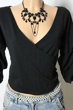 boohoo Bolero Gr. 38 kurz schwarz 3/4-Arm Carmen Flamenco Bluse in Wickel-Optik