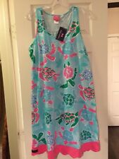 Simply Southern Turtle Print Sleeveless Tank Dress in Pink, Blue, & Green XL 2XL
