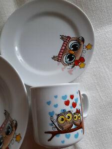 Porzellan Kindergeschirr 3-tlg. Kinder  Teller/Tasse/ Teller    EULEN  !
