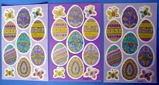 VINTAGE AGC COLORED EASTER EGGS & BUTTERFLIES 33 STICKERS 3 SHEETS