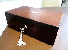 VICTORIAN WALNUT SEWING/JEWELLERY BOX,LOCK & KEY,RED LINED INTERIOR.STOP HINGES.