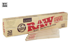 AUTHENTIC RAW (32 CONES) Classic 1-1/4 Pre-Rolled Cones - Fast Free Shipping