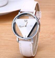 Hommes Femmes en Cuir à Quartz Analogique Montre-Bracelet Triangle bracelet montre blanc W11 UK