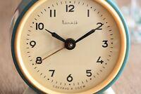 Vintage Vytiaz Alarm Clock Blue Table Mechanical Clock Metal Desk Wind Up Clock