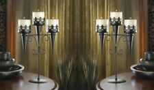 Set of 2 Medieval Triple Candelabra Stands, Gothic Style, Perfect for Halloween