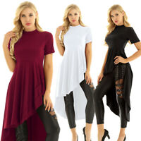 Womens Asymmetrical Shirt Dress Party Evening Cocktail Bodycon Tops Blouse Dress